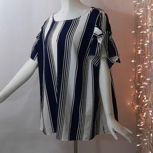 New! Plus 3X Blue White Stripes Roz & Ali Top